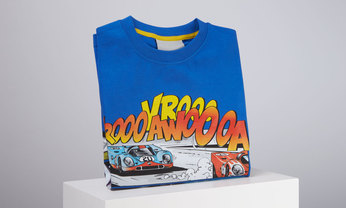 Porsche Comic Kinder T-Shirt, blau