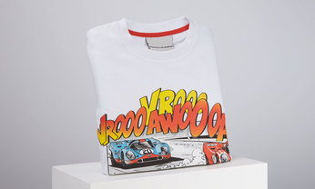 Porsche Comic Kinder T-Shirt, weiß